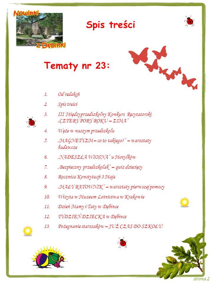 Strona 3 III MI Ę DZYPRZEDSZKOLNY KONKURS RECYTATORSKI CZTERY PORY ROKU – ZIMA 28 lutego 2013 roku w Samorządowym Przedszkolu nr 124 Dębinka w Krakowie było bardzo uroczyście.