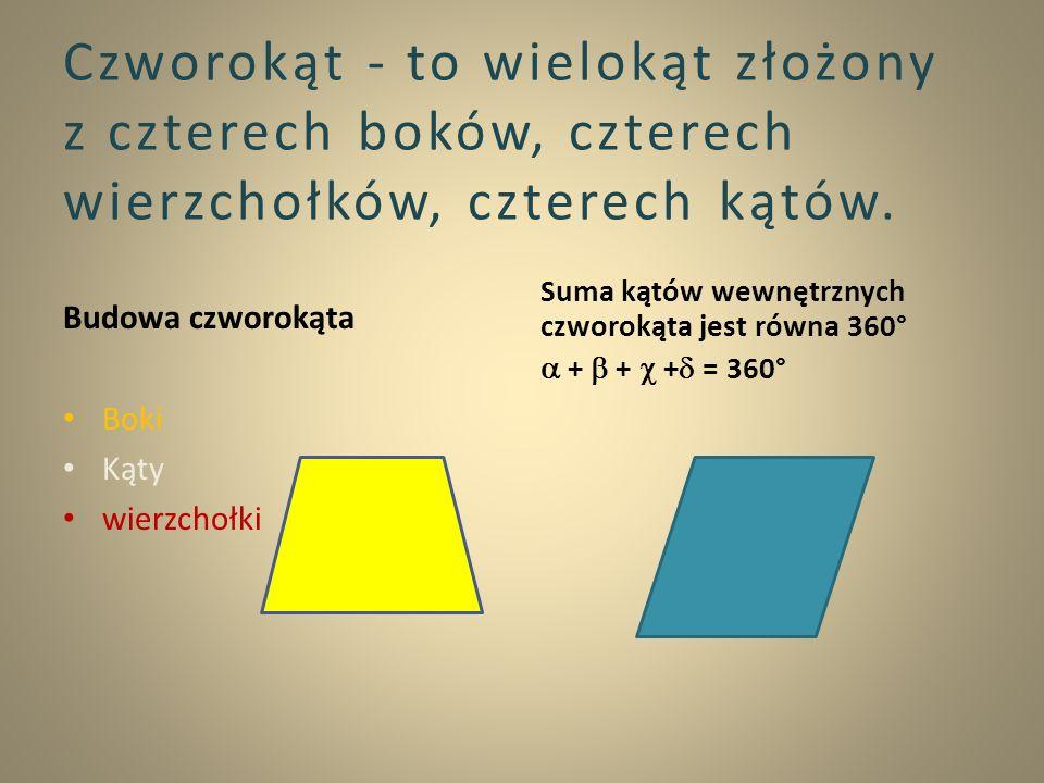 Czworokąt - to wielokąt złożony z czterech boków, czterech wierzchołków, czterech kątów. Budowa czworokąta Boki Kąty wierzchołki Suma kątów wewnętrzny