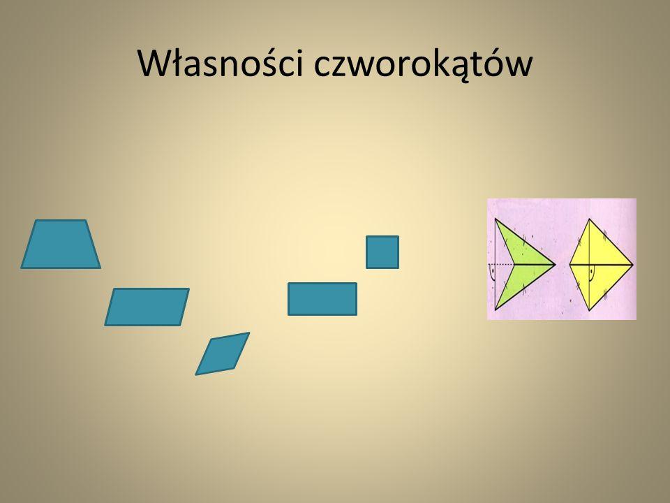 równoległobok - ma dwie pary boków równoległych -przeciwległe kąty mają taką samą miarę -przekątne przecinają się w połowie