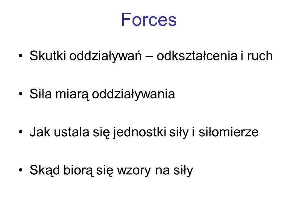 Forces Skutki oddziaływań – odkształcenia i ruch Siła miarą oddziaływania Jak ustala się jednostki siły i siłomierze Skąd biorą się wzory na siły