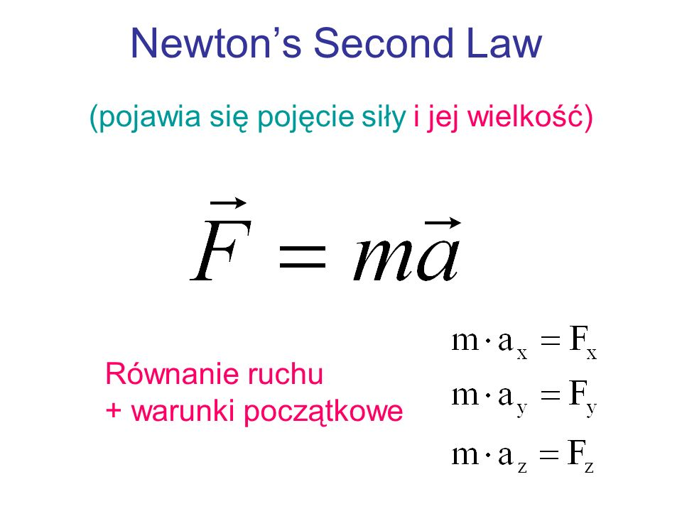 Newtons Second Law (pojawia się pojęcie siły i jej wielkość) Równanie ruchu + warunki początkowe