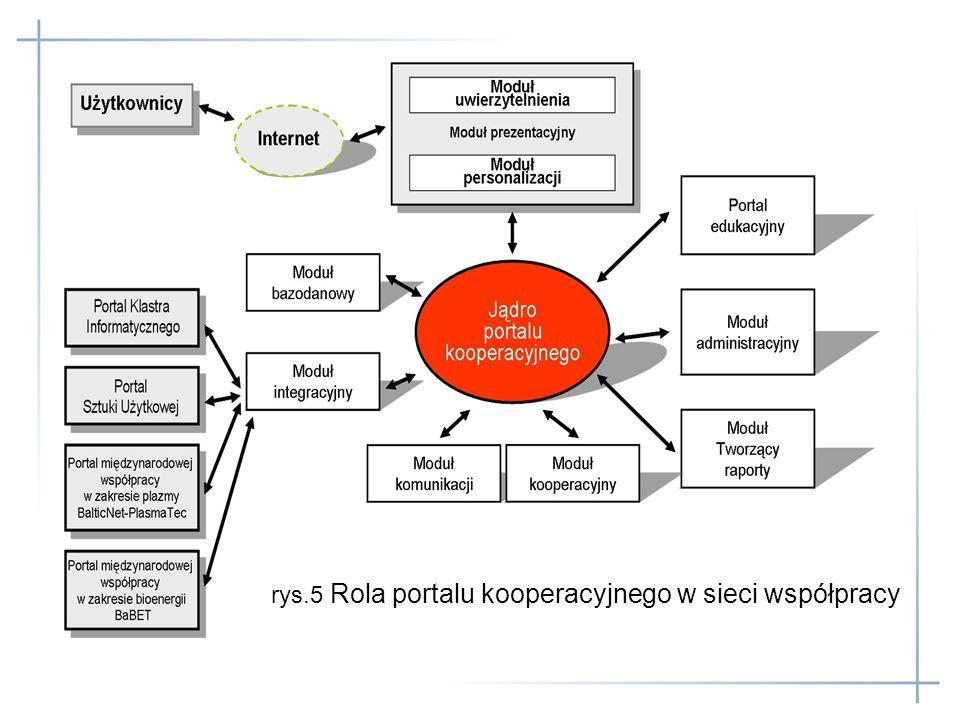 rys.5 Rola portalu kooperacyjnego w sieci współpracy