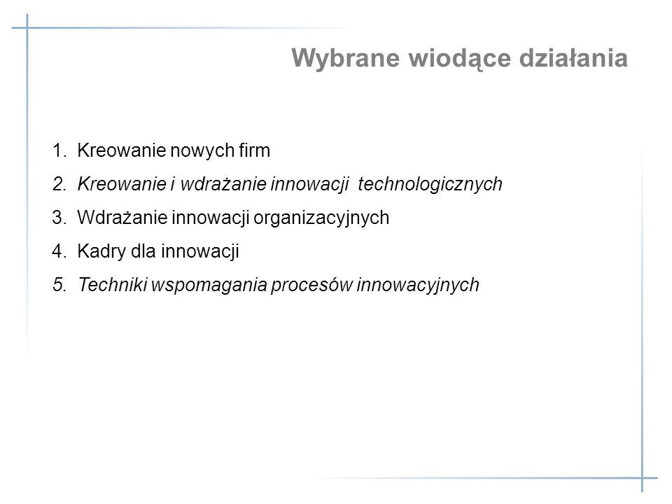1.Kreowanie nowych firm 2.Kreowanie i wdrażanie innowacji technologicznych 3.Wdrażanie innowacji organizacyjnych 4.Kadry dla innowacji 5.Techniki wspo
