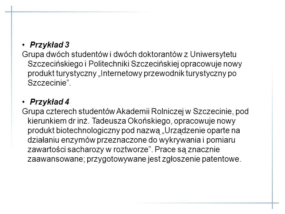 Przykład 3 Grupa dwóch studentów i dwóch doktorantów z Uniwersytetu Szczecińskiego i Politechniki Szczecińskiej opracowuje nowy produkt turystyczny In