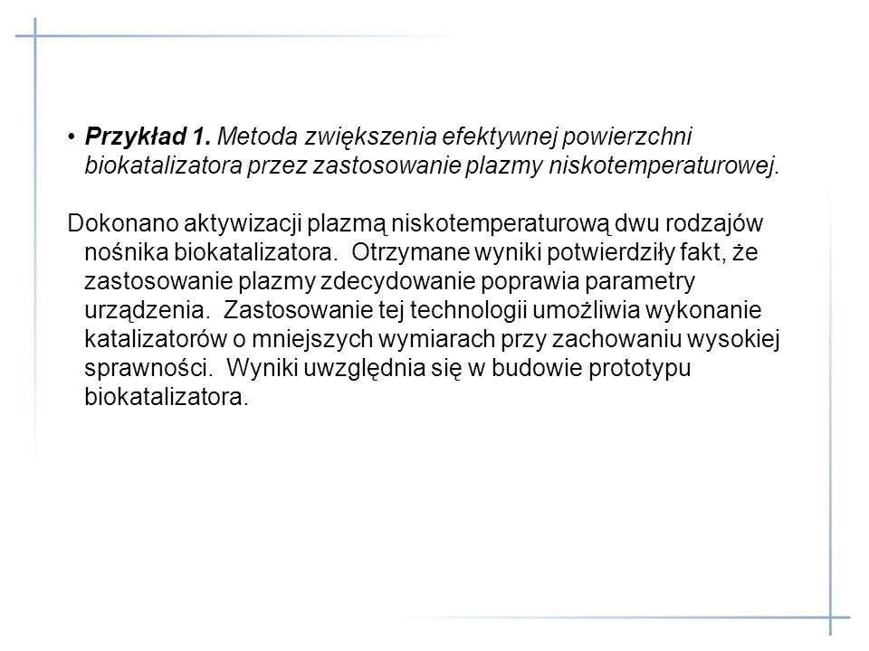 Przykład 1. Metoda zwiększenia efektywnej powierzchni biokatalizatora przez zastosowanie plazmy niskotemperaturowej. Dokonano aktywizacji plazmą nisko