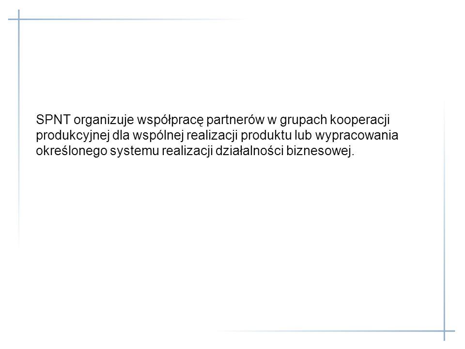 SPNT organizuje współpracę partnerów w grupach kooperacji produkcyjnej dla wspólnej realizacji produktu lub wypracowania określonego systemu realizacj