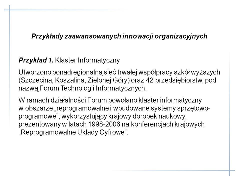 Przykłady zaawansowanych innowacji organizacyjnych Przykład 1. Klaster Informatyczny Utworzono ponadregionalną sieć trwałej współpracy szkół wyższych