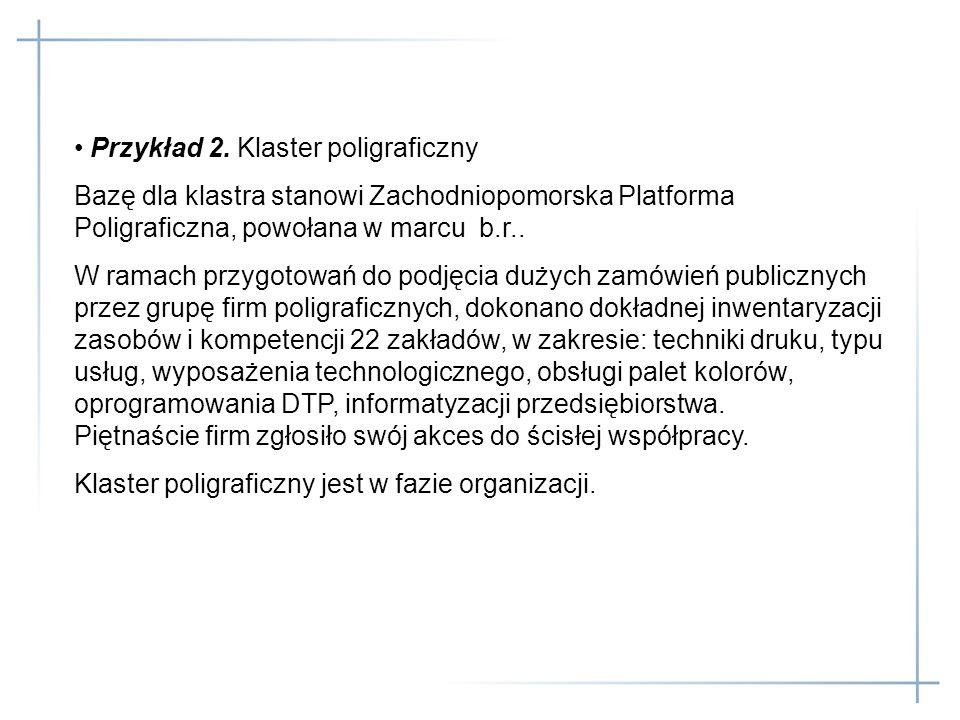 Przykład 2. Klaster poligraficzny Bazę dla klastra stanowi Zachodniopomorska Platforma Poligraficzna, powołana w marcu b.r.. W ramach przygotowań do p