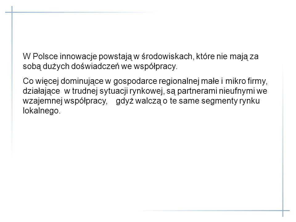 W Polsce innowacje powstają w środowiskach, które nie mają za sobą dużych doświadczeń we współpracy. Co więcej dominujące w gospodarce regionalnej mał