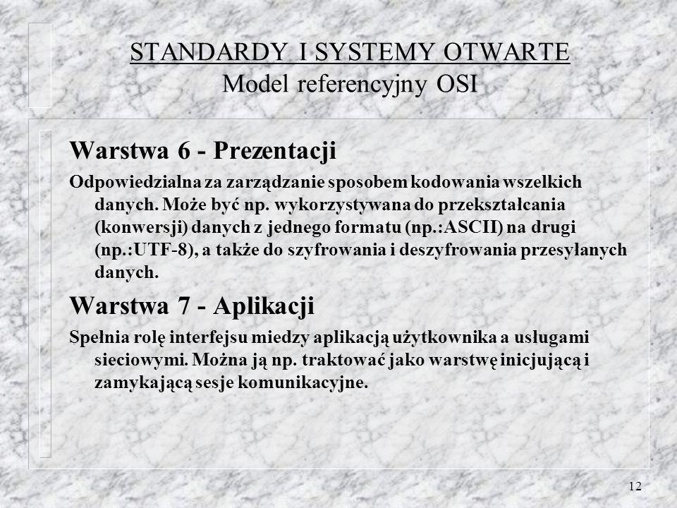 12 STANDARDY I SYSTEMY OTWARTE Model referencyjny OSI Warstwa 6 - Prezentacji Odpowiedzialna za zarządzanie sposobem kodowania wszelkich danych. Może