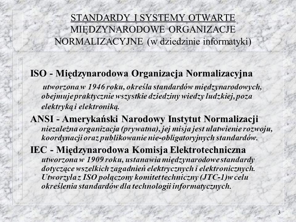 3 STANDARDY I SYSTEMY OTWARTE MIĘDZYNARODOWE ORGANIZACJE NORMALIZACYJNE (w dziedzinie informatyki) ISO - Międzynarodowa Organizacja Normalizacyjna utw