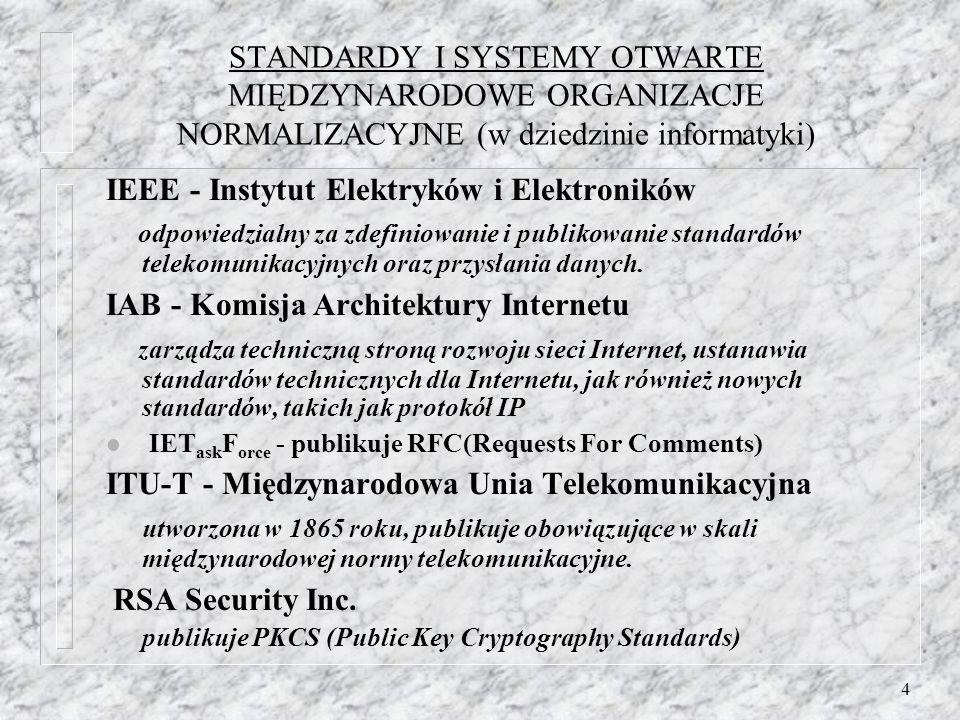 4 STANDARDY I SYSTEMY OTWARTE MIĘDZYNARODOWE ORGANIZACJE NORMALIZACYJNE (w dziedzinie informatyki) IEEE - Instytut Elektryków i Elektroników odpowiedz