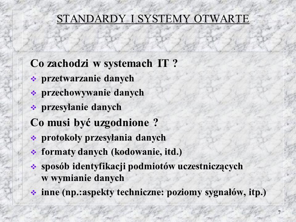 7 STANDARDY I SYSTEMY OTWARTE Co zachodzi w systemach IT ? przetwarzanie danych przechowywanie danych przesyłanie danych Co musi być uzgodnione ? prot