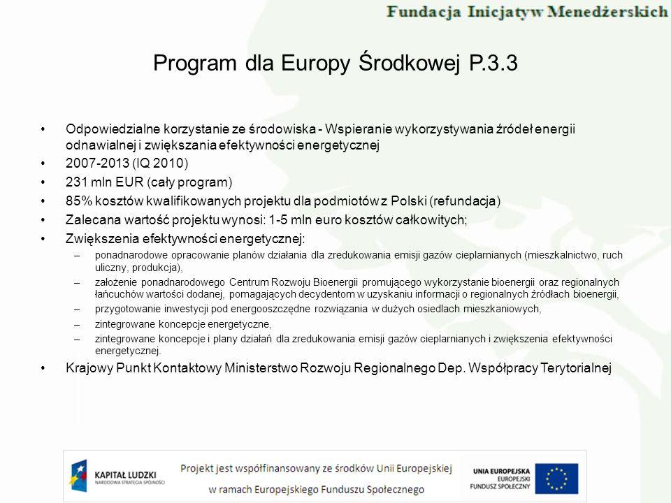 Program dla Europy Środkowej P.3.3 Odpowiedzialne korzystanie ze środowiska - Wspieranie wykorzystywania źródeł energii odnawialnej i zwiększania efek