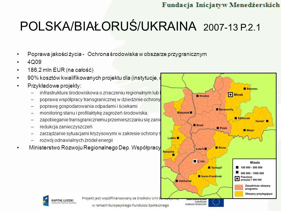 Poprawa jakości życia - Ochrona środowiska w obszarze przygranicznym 4Q09 186,2 mln EUR (na całość) 90% kosztów kwalifikowanych projektu dla (instytuc