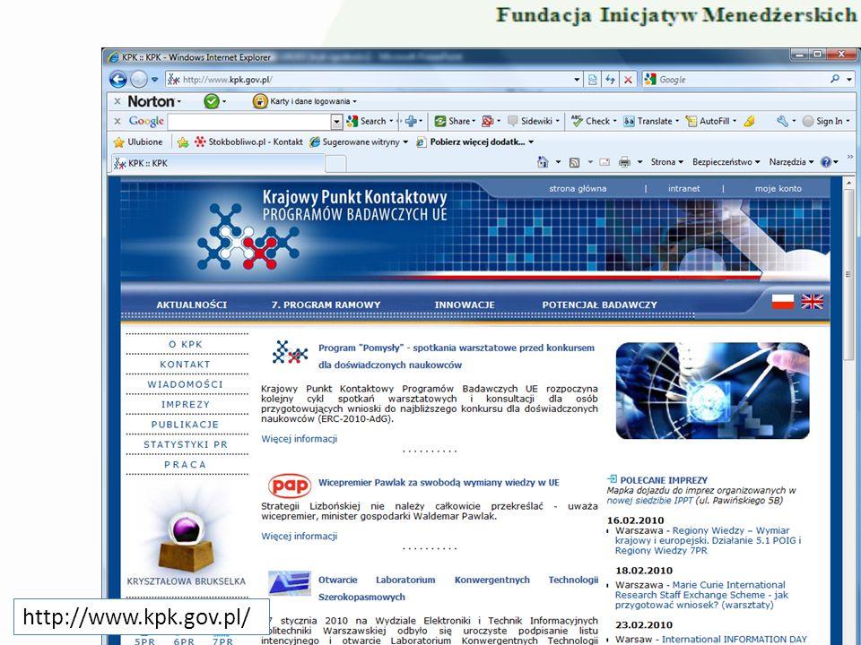 Portal Funduszy Europejskich http://www.kpk.gov.pl/