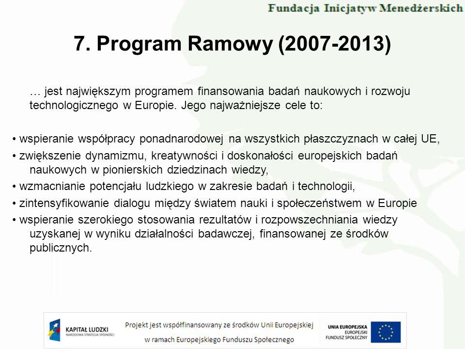 7. Program Ramowy (2007-2013) … jest największym programem finansowania badań naukowych i rozwoju technologicznego w Europie. Jego najważniejsze cele