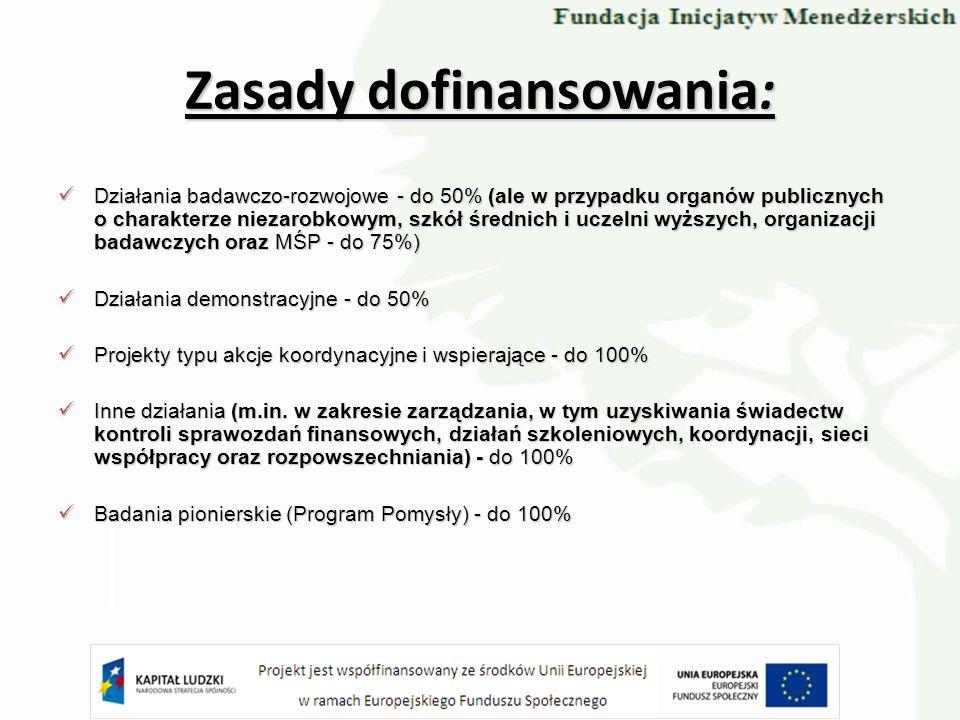 Działania badawczo-rozwojowe - do 50% (ale w przypadku organów publicznych o charakterze niezarobkowym, szkół średnich i uczelni wyższych, organizacji