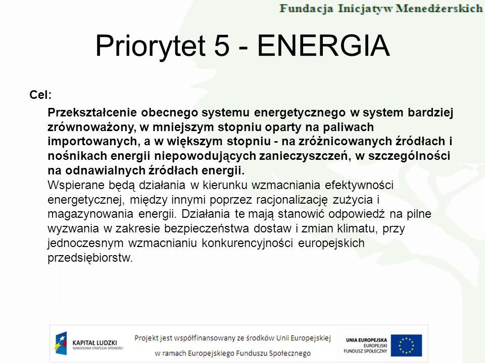 Priorytet 5 - ENERGIA Cel: Przekształcenie obecnego systemu energetycznego w system bardziej zrównoważony, w mniejszym stopniu oparty na paliwach impo