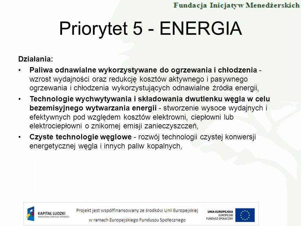 Priorytet 5 - ENERGIA Działania: Paliwa odnawialne wykorzystywane do ogrzewania i chłodzenia - wzrost wydajności oraz redukcję kosztów aktywnego i pas