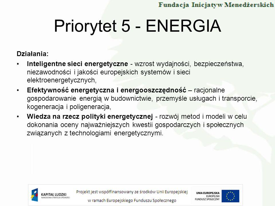Priorytet 5 - ENERGIA Działania: Inteligentne sieci energetyczne - wzrost wydajności, bezpieczeństwa, niezawodności i jakości europejskich systemów i