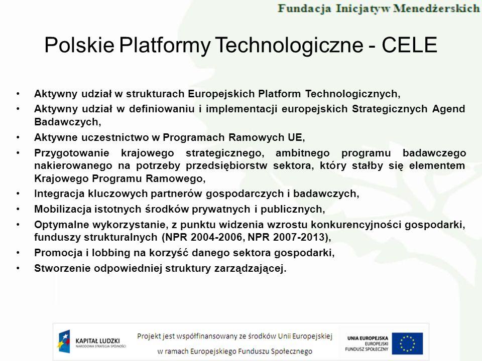 Polskie Platformy Technologiczne - CELE Aktywny udział w strukturach Europejskich Platform Technologicznych, Aktywny udział w definiowaniu i implement