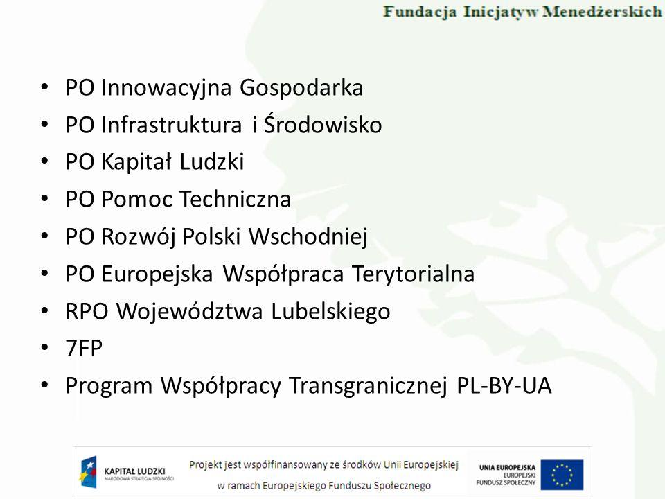 PO Innowacyjna Gospodarka PO Infrastruktura i Środowisko PO Kapitał Ludzki PO Pomoc Techniczna PO Rozwój Polski Wschodniej PO Europejska Współpraca Te
