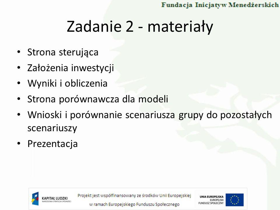 Zadanie 2 - materiały Strona sterująca Założenia inwestycji Wyniki i obliczenia Strona porównawcza dla modeli Wnioski i porównanie scenariusza grupy d