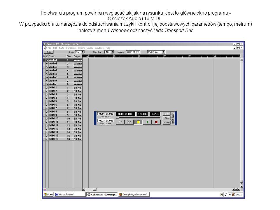 Po otwarciu program powinien wyglądać tak jak na rysunku. Jest to główne okno programu - 8 ścieżek Audio i 16 MIDI. W przypadku braku narzędzia do ods