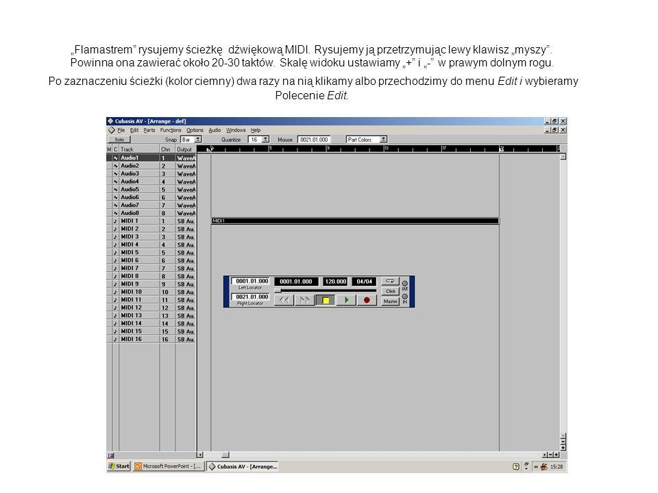 Flamastrem rysujemy ścieżkę dźwiękową MIDI. Rysujemy ją przetrzymując lewy klawisz myszy. Powinna ona zawierać około 20-30 taktów. Skalę widoku ustawi