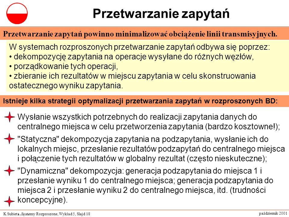 K.Subieta. Systemy Rozproszone, Wykład 5, Slajd 18 październik 2001 Przetwarzanie zapytań Istnieje kilka strategii optymalizacji przetwarzania zapytań