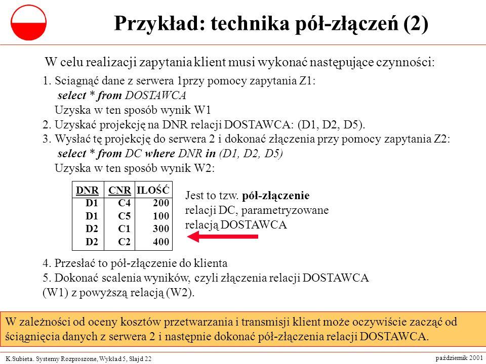 K.Subieta. Systemy Rozproszone, Wykład 5, Slajd 22 październik 2001 Przykład: technika pół-złączeń (2) 1. Sciagnąć dane z serwera 1przy pomocy zapytan