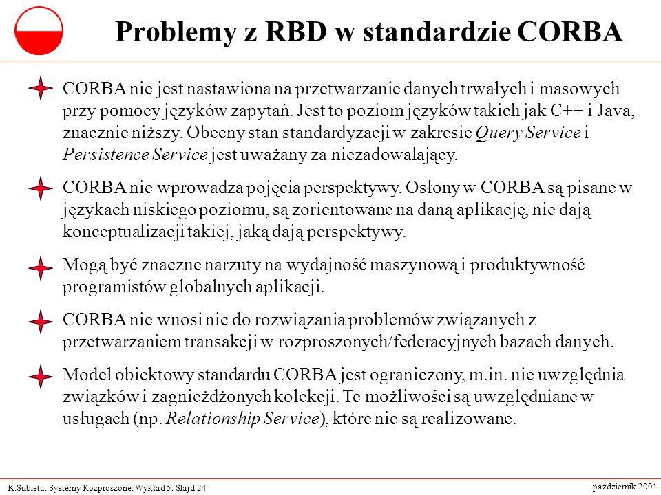 K.Subieta. Systemy Rozproszone, Wykład 5, Slajd 24 październik 2001 Problemy z RBD w standardzie CORBA CORBA nie jest nastawiona na przetwarzanie dany