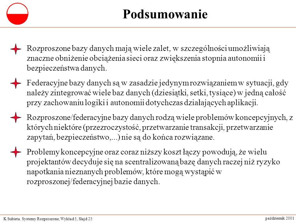 K.Subieta. Systemy Rozproszone, Wykład 5, Slajd 25 październik 2001 Podsumowanie Rozproszone bazy danych mają wiele zalet, w szczególności umożliwiają