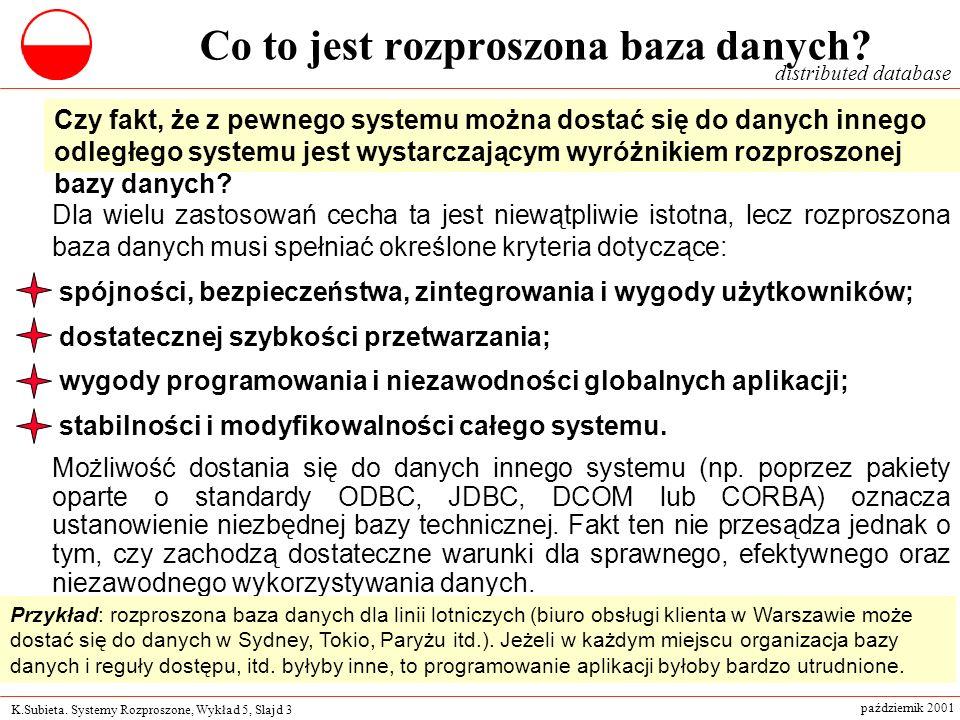 K.Subieta. Systemy Rozproszone, Wykład 5, Slajd 3 październik 2001 Co to jest rozproszona baza danych? Dla wielu zastosowań cecha ta jest niewątpliwie