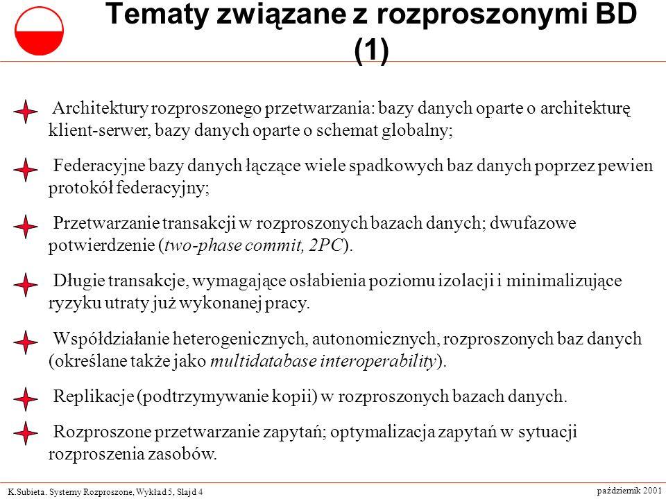 K.Subieta. Systemy Rozproszone, Wykład 5, Slajd 4 październik 2001 Tematy związane z rozproszonymi BD (1) Architektury rozproszonego przetwarzania: ba