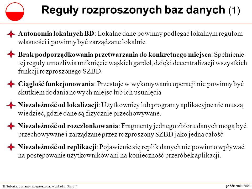 K.Subieta. Systemy Rozproszone, Wykład 5, Slajd 7 październik 2001 Reguły rozproszonych baz danych (1) Autonomia lokalnych BD: Lokalne dane powinny po