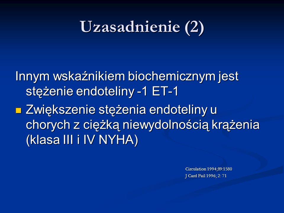 Uzasadnienie (2) Innym wskaźnikiem biochemicznym jest stężenie endoteliny -1 ET-1 Zwiększenie stężenia endoteliny u chorych z ciężką niewydolnością kr