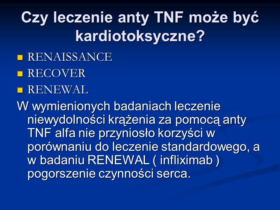 Czy leczenie anty TNF może być kardiotoksyczne? RENAISSANCE RENAISSANCE RECOVER RECOVER RENEWAL RENEWAL W wymienionych badaniach leczenie niewydolnośc