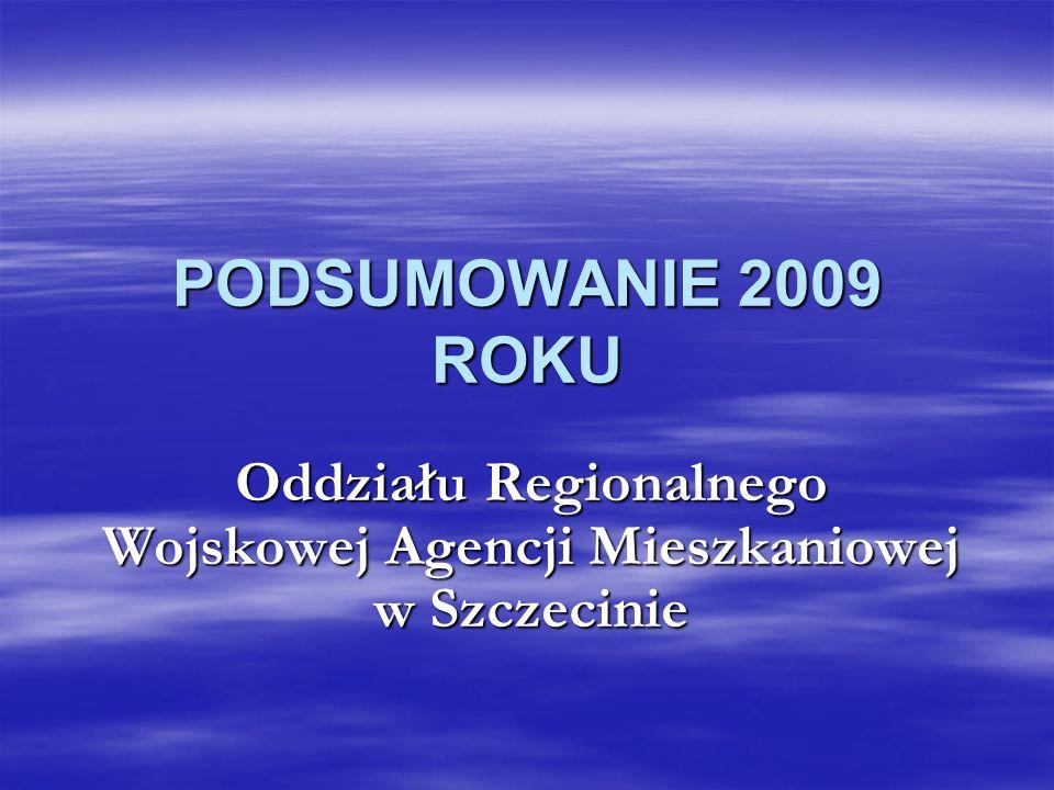 PODSUMOWANIE 2009 ROKU Oddziału Regionalnego Wojskowej Agencji Mieszkaniowej w Szczecinie