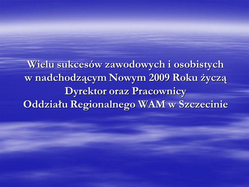 Wielu sukcesów zawodowych i osobistych w nadchodzącym Nowym 2009 Roku życzą Dyrektor oraz Pracownicy Oddziału Regionalnego WAM w Szczecinie