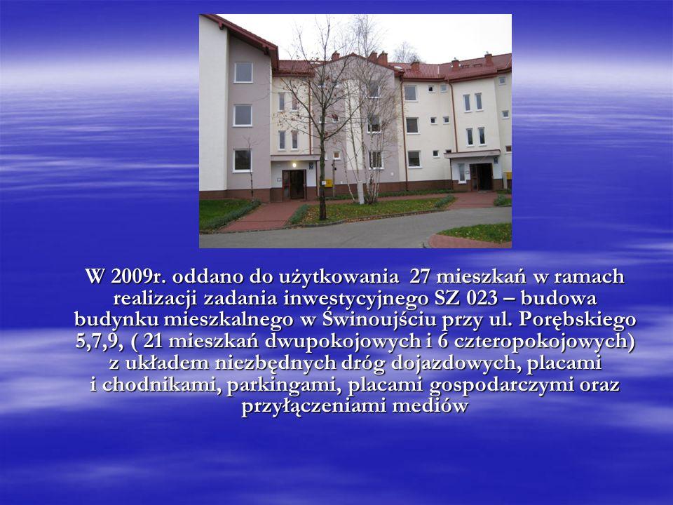 W 2009r. oddano do użytkowania 27 mieszkań w ramach realizacji zadania inwestycyjnego SZ 023 – budowa budynku mieszkalnego w Świnoujściu przy ul. Porę