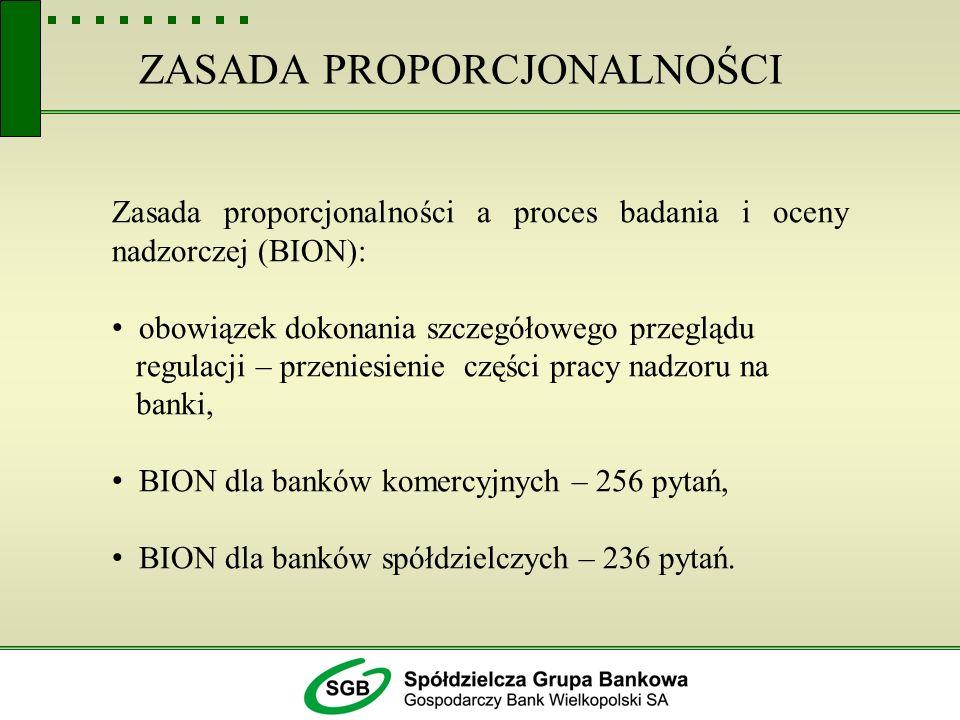 ZASADA PROPORCJONALNOŚCI Zasada proporcjonalności a proces badania i oceny nadzorczej (BION): obowiązek dokonania szczegółowego przeglądu regulacji –