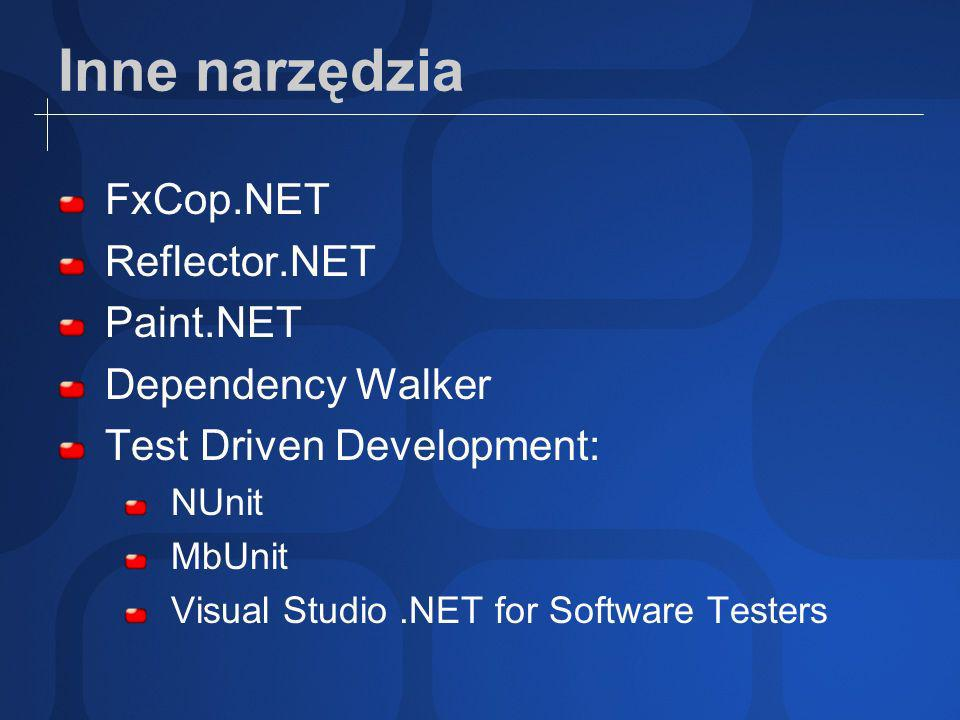 Inne narzędzia FxCop.NET Reflector.NET Paint.NET Dependency Walker Test Driven Development: NUnit MbUnit Visual Studio.NET for Software Testers