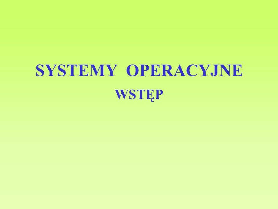 SYSTEMY OPERACYJNE - WSTĘP Pamięć – własności fizyczne - półprzewodnikowa: RAM, ROM, Flash - magnetyczna: dyskowa, taśmowa - magneto-optyczna: CD, DVD - czas dostępu: realizacja operacji lub ustawienie głowicy - czas cyklu pamięci: od polecenia operacji do jej zakończenia - szybkość transferu: [czas cyklu] -1 ; czas operacji na n bitach [b/sek] Pamięć – wydajność