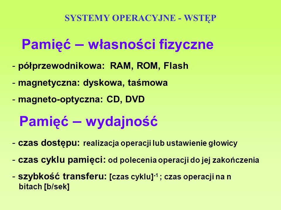 SYSTEMY OPERACYJNE - WSTĘP Pamięć – własności fizyczne - półprzewodnikowa: RAM, ROM, Flash - magnetyczna: dyskowa, taśmowa - magneto-optyczna: CD, DVD