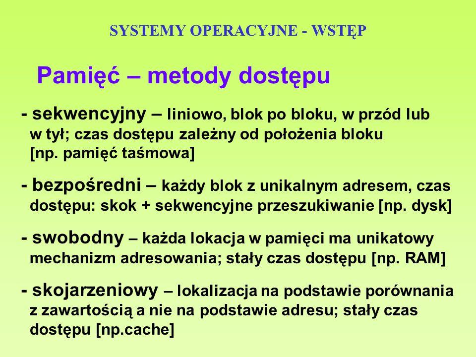 SYSTEMY OPERACYJNE - WSTĘP Pamięć – metody dostępu - sekwencyjny – liniowo, blok po bloku, w przód lub w tył; czas dostępu zależny od położenia bloku