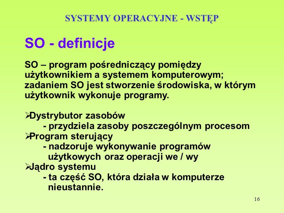 16 SYSTEMY OPERACYJNE - WSTĘP SO - definicje SO – program pośredniczący pomiędzy użytkownikiem a systemem komputerowym; zadaniem SO jest stworzenie śr
