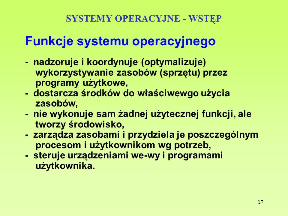 17 SYSTEMY OPERACYJNE - WSTĘP Funkcje systemu operacyjnego - nadzoruje i koordynuje (optymalizuje) wykorzystywanie zasobów (sprzętu) przez programy uż