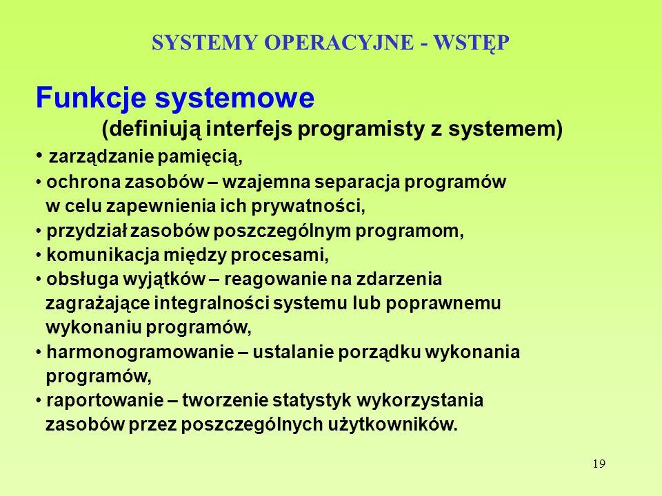 19 SYSTEMY OPERACYJNE - WSTĘP Funkcje systemowe (definiują interfejs programisty z systemem) zarządzanie pamięcią, ochrona zasobów – wzajemna separacj